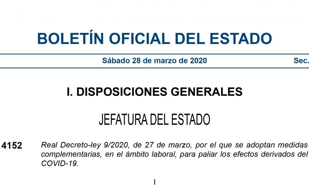 Novedades en materia laboral introducidas por el Real Decreto-ley 9/2020, de 27 de marzo.