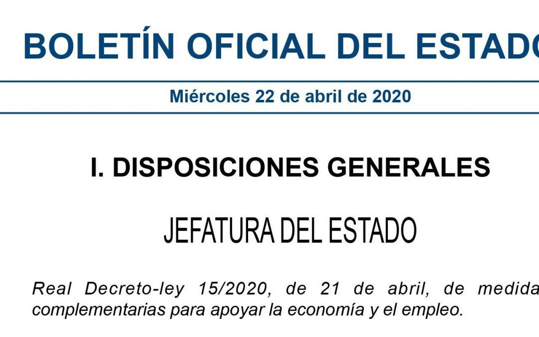 Medidas fiscales adoptadas en el Real Decreto-ley 15/2020 de 21 de abril.