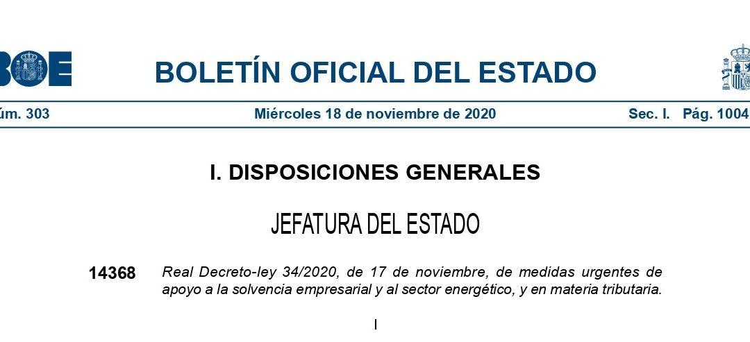Nuevas medidas fiscales implementadas por el Real Decreto-ley 34/2020, de 17 de noviembre.